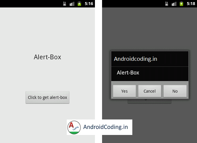 Android Tutorial on Alert-box