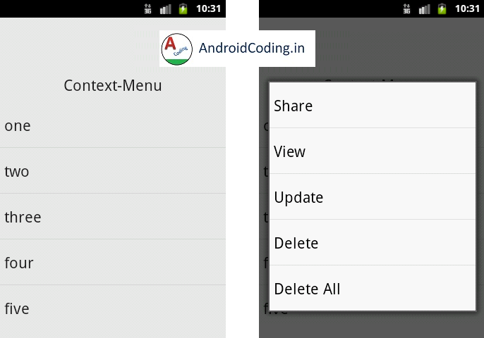 Android Tutorial on Context Menu