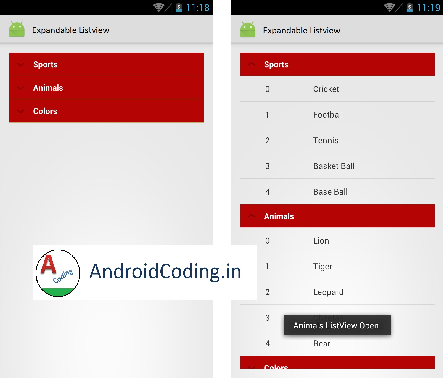 Android Tutorial on Expandable Listview