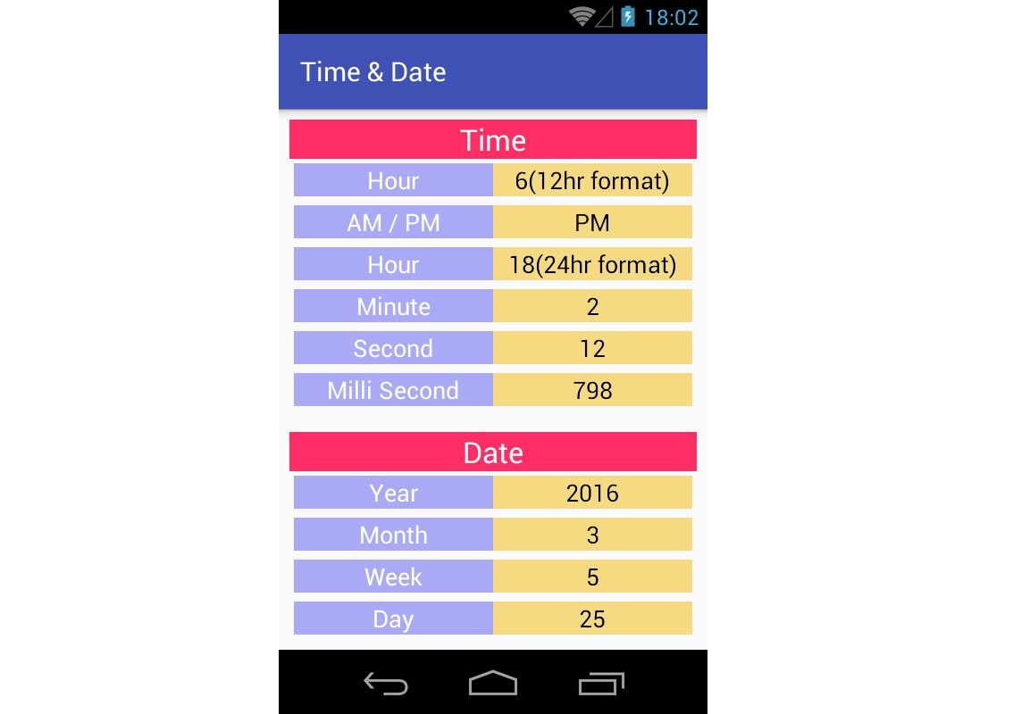 Android Tutorial On Getting Time & Date