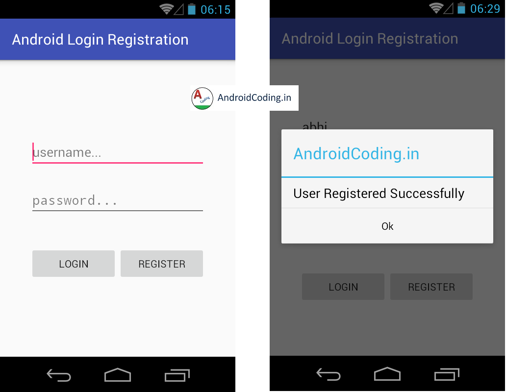 Android Login And Registration based on MYSQL Database using php Part 2.
