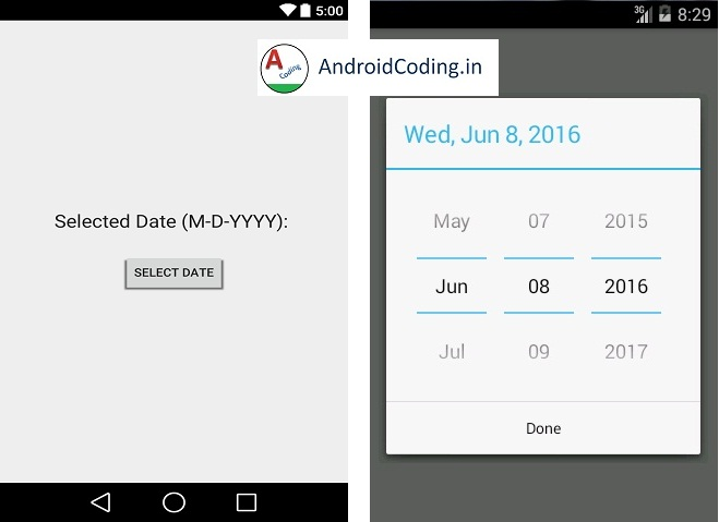 Android Tutorial on Date Picker