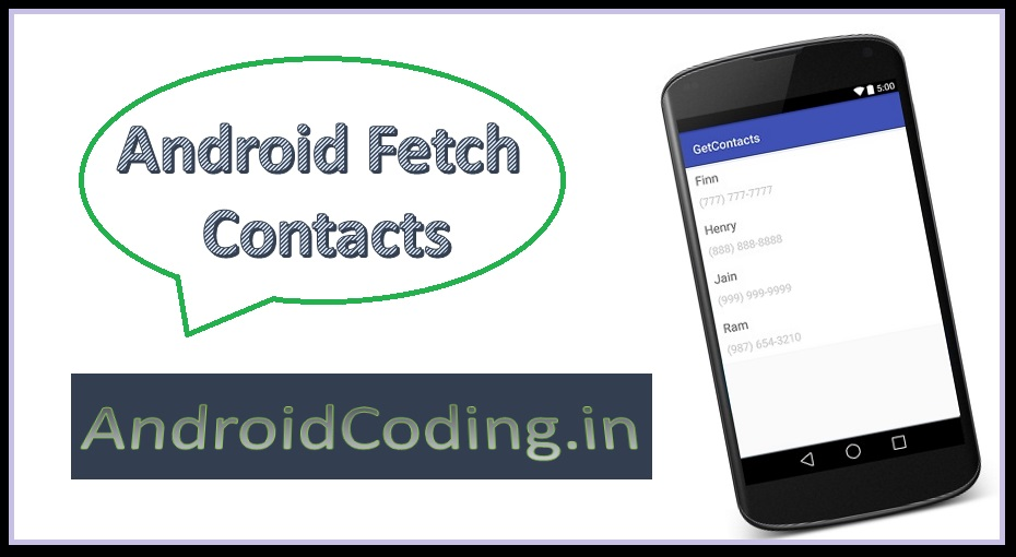 Android Tutorial Fetching Contacts || Android Contacts Example