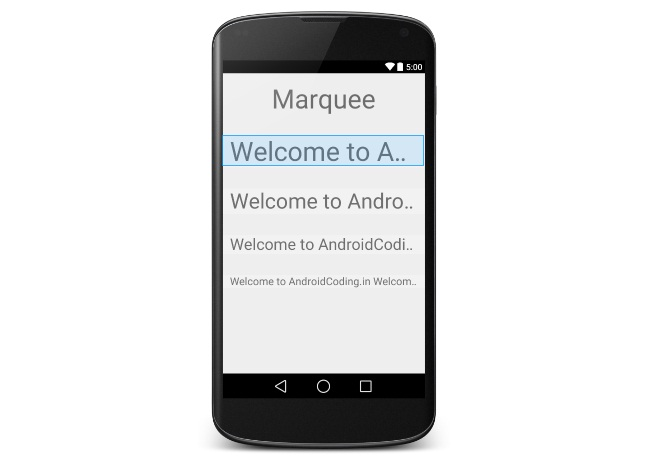 Android Tutorial On Textview Marquee Animation